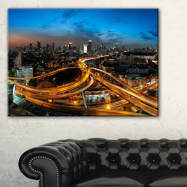 Illuminated Highway in Bangkok - Cityscape Canvas print
