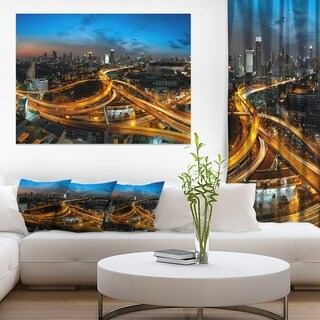 Illuminated Highway in Bangkok - Cityscape Canvas print - Blue