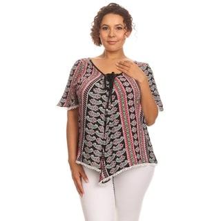 Hadari Women Plus Size Short Sleeve V-Neck Top