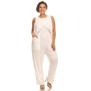 Hadari Women Plus Size Sleeveless Round Neck Jumpsuit