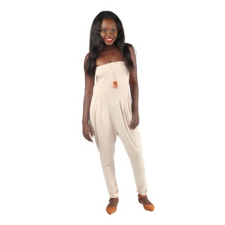 Hadari Womens Slimfit Beige Straight Across Neckline Pegged Bottom Jumpsuit With Side Front Pockets