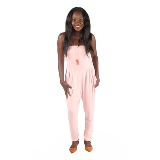 Hadari Women's Slimfit Peach Straight Across Neckline Pegged Bottom Jumpsuit With Side Front Pockets