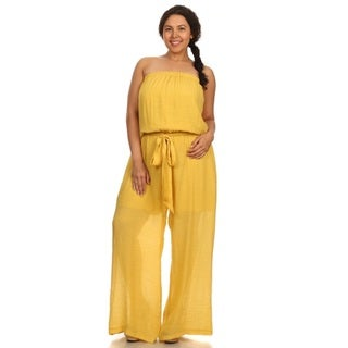 Hadari Women Plus Size Strapless Jumpsuit