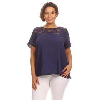 Hadari Women Plus Size Short Sleeve Round Neck Top