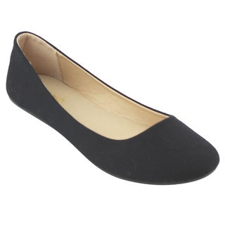 Refresh Women's Solid-colored Fabric Ballet Flats