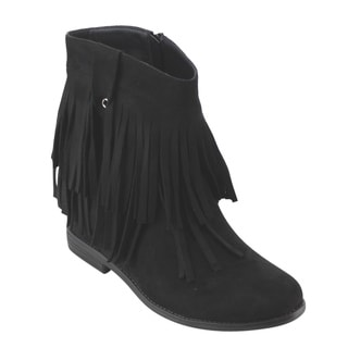 Refresh AD15 Women's Fringe Flat Heel Side Zipper Ankle Booties
