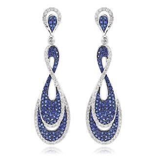 Luxurman 14k Gold 1 1/2ct TDW Diamond and 2 1/2ct TGW Blue Sapphire Infinity Earrings (G-H, VS1-VS2)