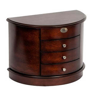 Mele & Co. York Dark Walnut Wood Locking Jewelry Box