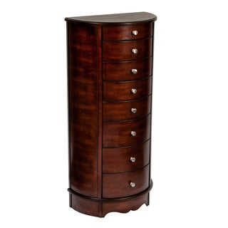 Mele & Co. Corsica Jewelry Armoire in Dark Walnut Finish