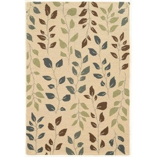 Vines and Leaves Beige/Green Rug (5' x 7'9)
