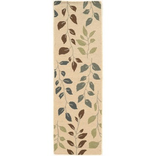 Style Haven Vines and Leaves Beige/Green Wool and Natural Fiber Rug (2'3 x 7'6)