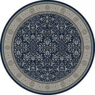 Vision Traditional Blue/Grey Round Rug (7'8)