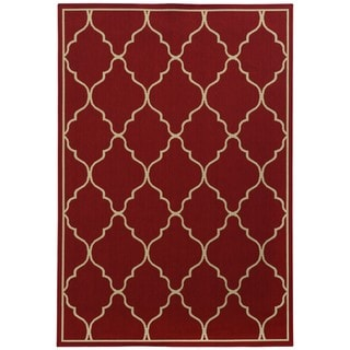 Style Haven Red/Ivory Synthetic Scalloped Lattice Rug (5'3 X 7'5)