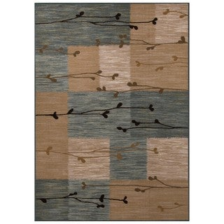 Style Haven Botantical Blocks Brown/Blue Rug (5' X 7')