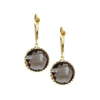 14k Yellow Gold Faceted Smoky Quartz Bezel Earrings