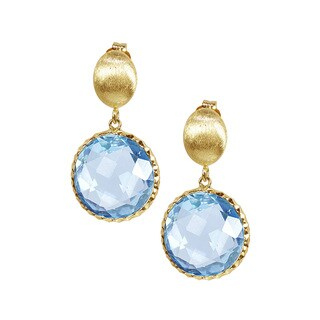 14k Yellow Gold Faceted Blue Topaz Bezel Earrings