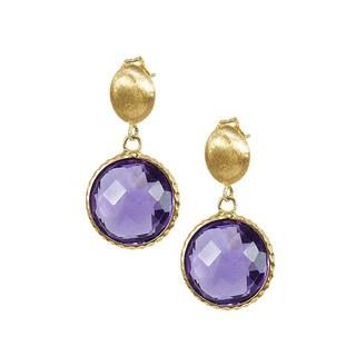 14k Yellow Gold Faceted Amethyst Bezel Earrings