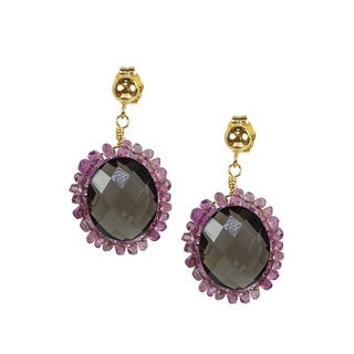 14k Yellow Gold Pink Tourmaline and Smoky Quartz Earrings