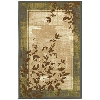 Style Haven Bordered Vines Grey/Beige Rug (4'4 x 6'9)