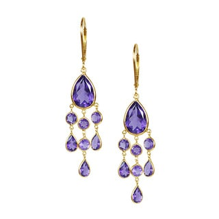 14k Yellow Gold Amethyst Chandelier Earrings