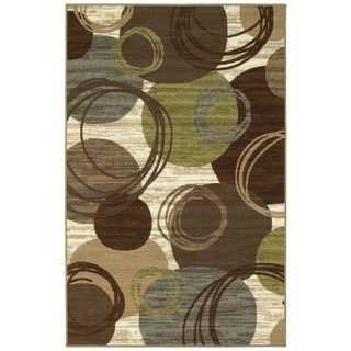 Style Haven Circles and Brown/Green Rug (4'4 x 6'9)