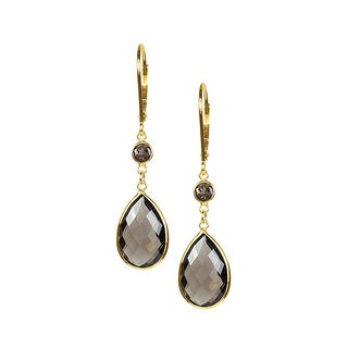 14k Yellow Gold Faceted Smoky Quartz Earrings