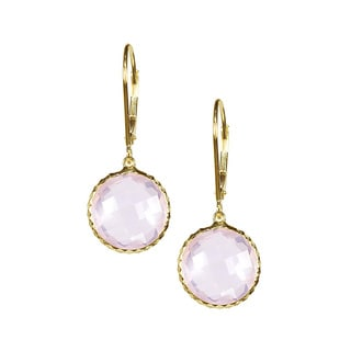 14k Yellow Gold Faceted Rose Quartz Bezel Earrings