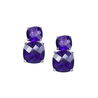 14k White Gold Faceted Cushion Dual Amethyst Earrings