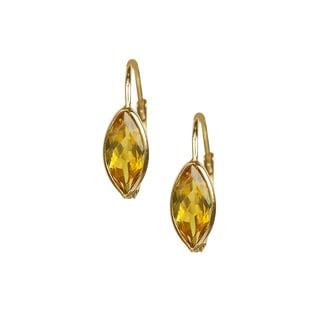 14k Yellow Gold Citrine Hoop Earrings