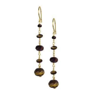 14k Yellow Gold Tiger's Eye Bead Earrings