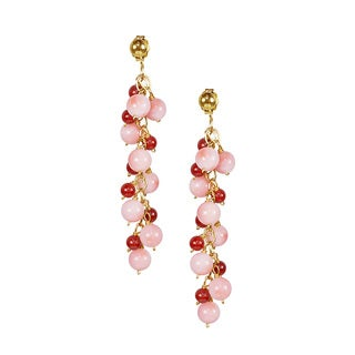 14k Yellow Gold Multi Coral Bead Gold Earrings