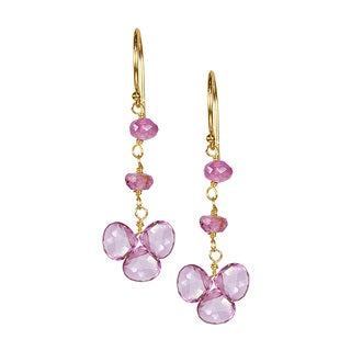 14k Yellow Gold Pink Topaz and Tourmaline Drop Earrings
