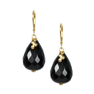 14k Yellow Gold Faceted Black Onyx Drop Earrings