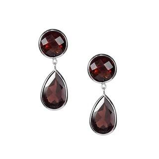 14k White Gold Drop Garnet Earrings