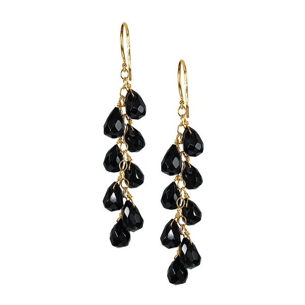14k yellow gold black onyx chandelier earrings free shipping today 14k yellow gold black onyx chandelier earrings aloadofball Choice Image