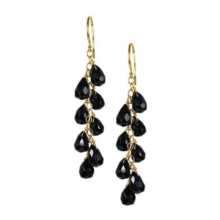 14k Yellow Gold Black Onyx Chandelier Earrings