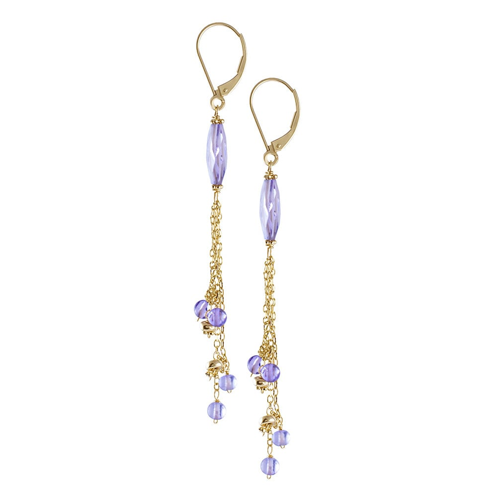 Amethyst /& Green Quartz Hanging Earrings,14K Yellow Gold Leverbacks