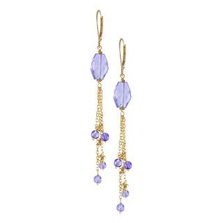 14k Yellow Gold Amethyst Drop Earrings