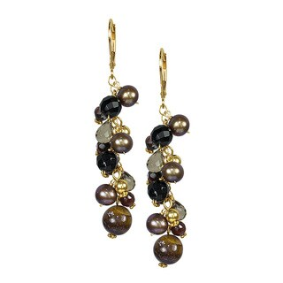 14k Yellow Gold Multi-gemstone and Freshwater Pearl Earrings
