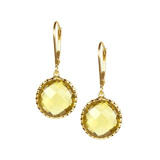 14k Yellow Gold Faceted Whiskey Quartz Bezel Earrings