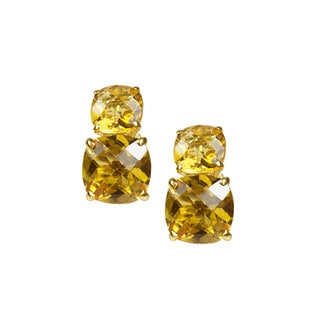 14k Yellow Gold Faceted Cushion Citrine Dual Stud Earrings