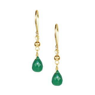 14k Yellow Gold Green Chalcedony Hook Earrings
