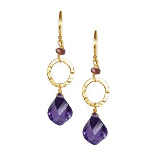 14k Yellow Gold Twist Amethyst and Garnet Drop Earrings