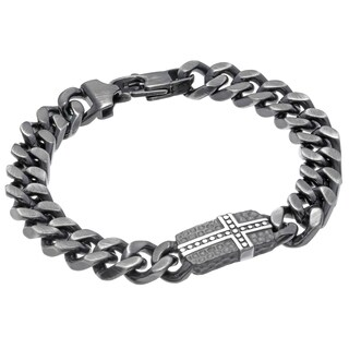 Black-plated Stainless Steel Hammered ID Plate Curb Chain Bracelet