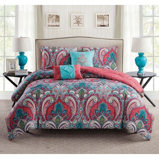 VCNY Casa Re'al Reversible Coral and Turquoise Paisley Print 5-Piece Comforter Set