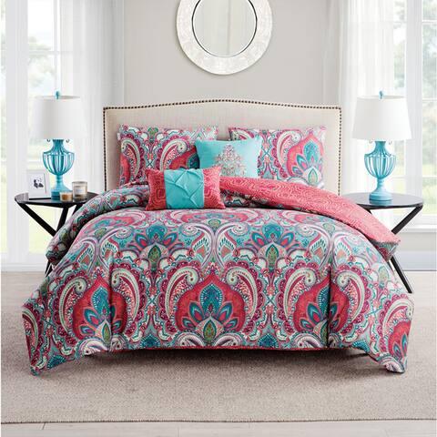 VCNY Home Casa Real Coral/Aqua Reversible Duvet Cover Set