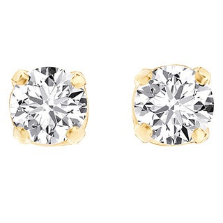 Divina 1/5 ct. Yellow Gold __ct TDW Round-cut Diamond Solitaire Stud Earrings (I-J, I3)