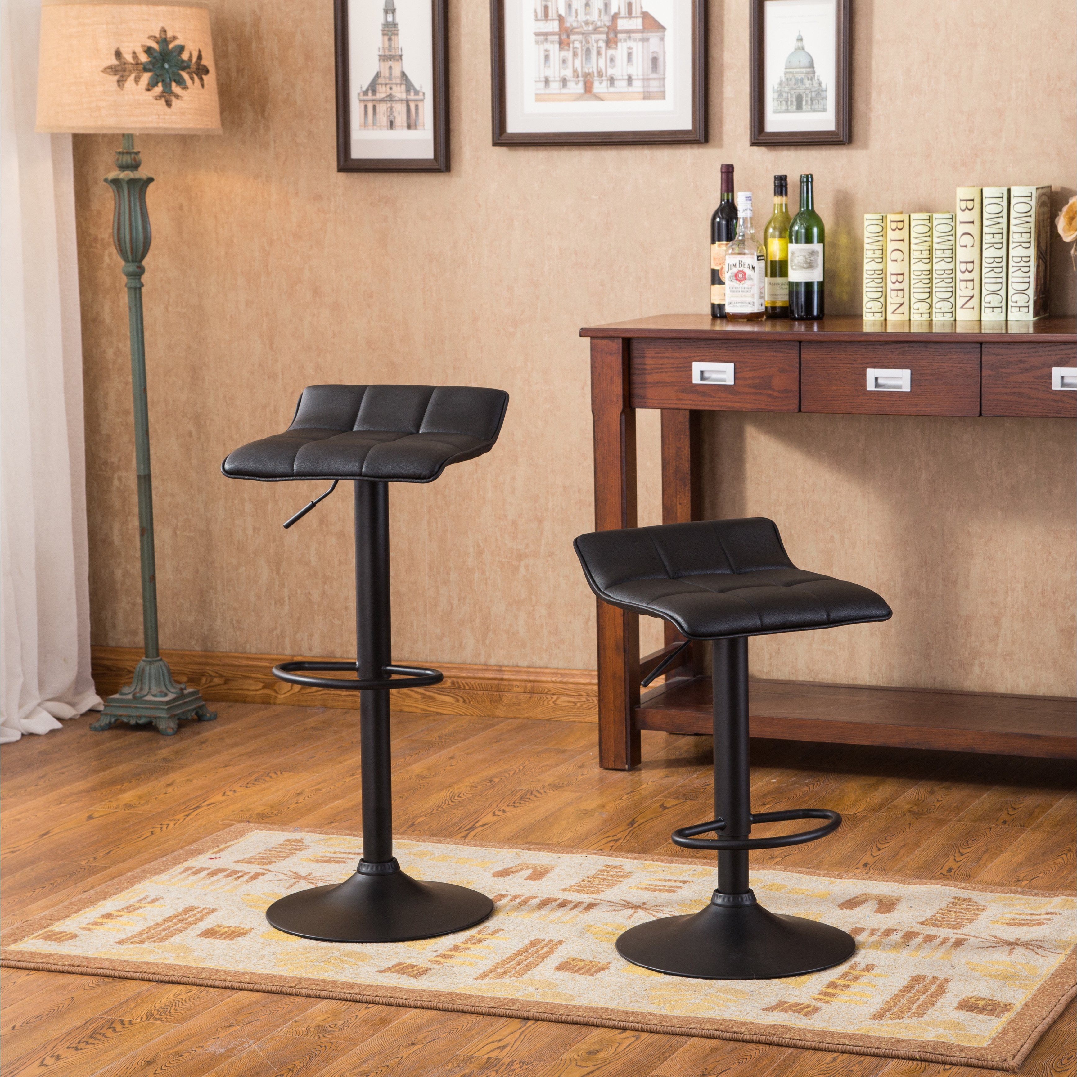 Peachy Belham Swivel Black Bonded Leather Adjustable Bar Stool Set Of 2 Uwap Interior Chair Design Uwaporg