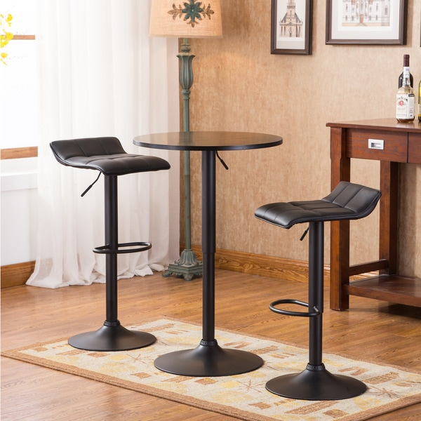 Belham Black Adjustable Height Round Bar Table Set Free