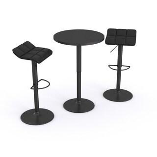 Belham Black Adjustable Height Round Bar Table Set